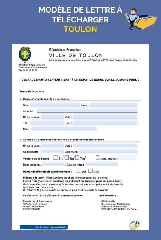 Permis de stationnement benne Toulon